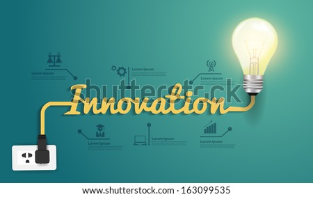 Innovation concept, Creative light bulb idea abstract infographic workflow layout, diagram, step up options, Vector illustration modern design template