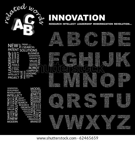 INNOVATION. Vector letter collection. Illustration with different association terms.