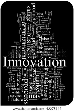 Innovation word cloud illustration. Graphic tag collection. - stock vector