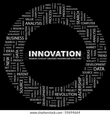 INNOVATION. Word collage on black background. Vector illustration. - stock vector