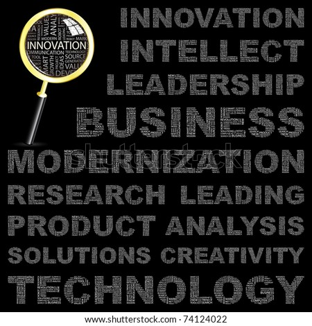 INNOVATION. Word collage on black background. Vector illustration. Illustration with different association terms. - stock vector