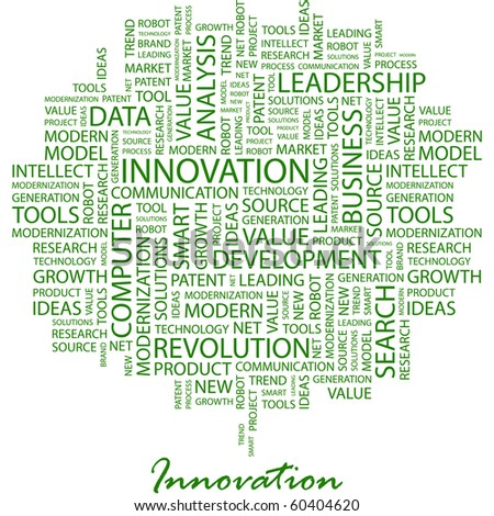 INNOVATION. Word collage on white background. Illustration with different association terms. - stock vector