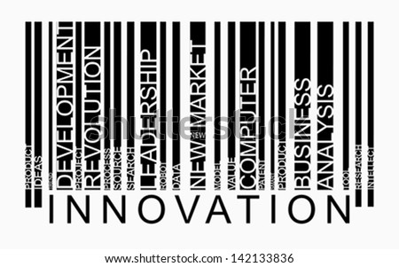 Innovation word concept in barcode with supporting words, modern, concept, vector - stock vector