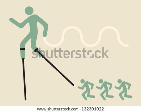 innovative leadership  - man on stilts - stock vector