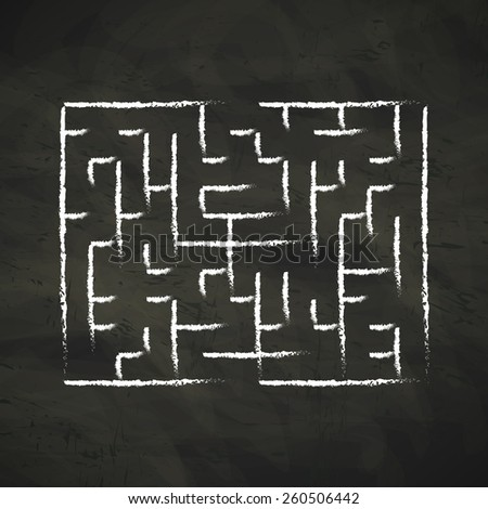 innovative maze drawn by chalk isolated on blackboard - stock vector