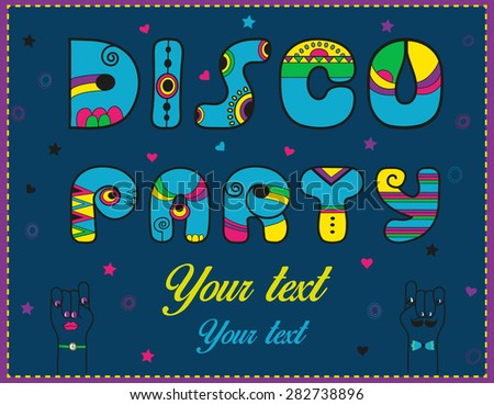 Inscription Disco Party. Funny blue Letters with bright parts. Vector Illustration - stock vector