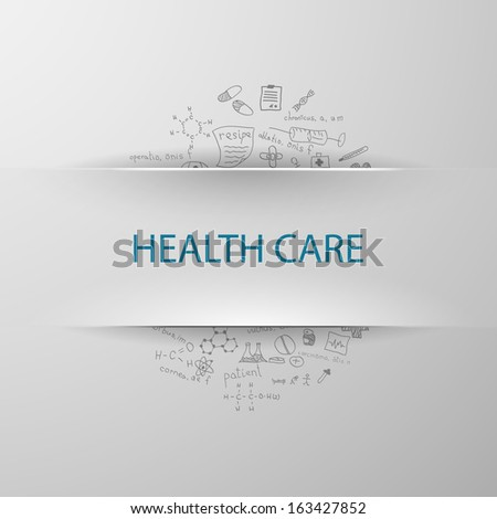 inscription health care with formulas on the background - stock vector