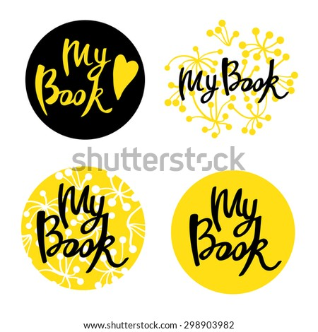 Inscription in different forms. lettering on a circle, on a floral background, circle with the background. Four variants of the composition. - stock vector
