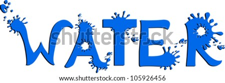 "Inscription ""WATER"". Letter of water.  Vector Illustration"