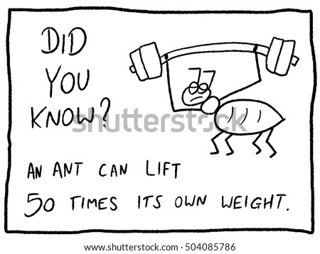 Insect facts about ants strength - fun trivia cartoon doodle concept. Newspaper funny comic fact.