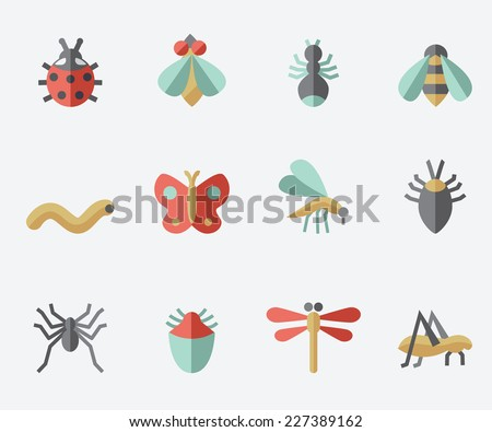 Insect icons, flat design set, light background - stock vector