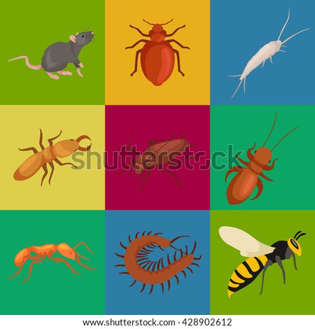 insect symbol set isolated on white. Sign or icon of bug black spider fly locust bee with wing ant mosquito macro design element for pest control flat concept collection vector illustration