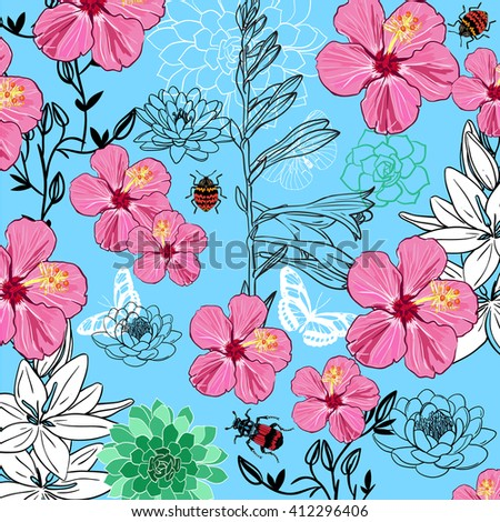 insects and flower vector pattern