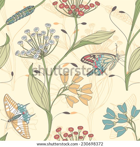 insects and flowers on a yellow background in seamless pattern - stock vector