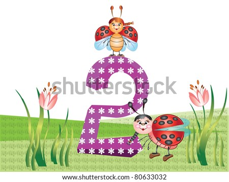 Insects and numbers series for kids - 2 - stock vector