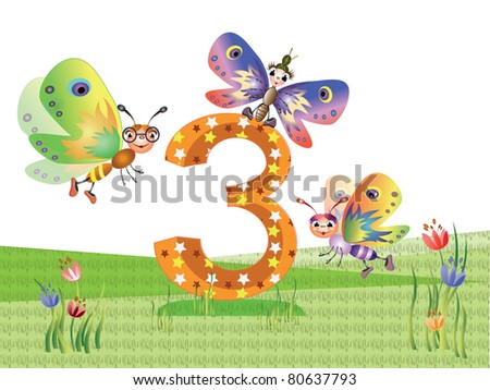 Insects  and numbers series for kids,  - 3 - stock vector