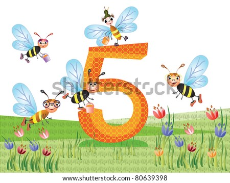 Insects  and numbers series for kids, - 5 - stock vector