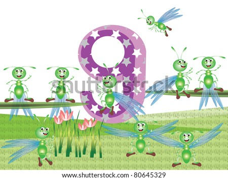 Insects and numbers series for kids ,9 - stock vector
