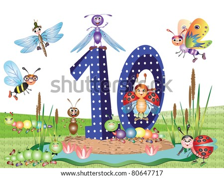 Insects and numbers series for kids, from 0 to 10,10 - stock vector