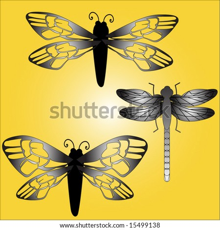 insects bee butterfly dragonfly - stock vector