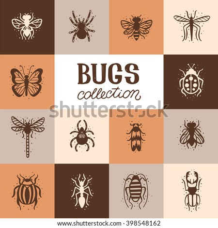 Insects collection kit. Bugs and beetles vector set. Mole, tarantula, bee, spider, fly, dragonfly, mosquito, gnat, butterfly, ladybug, stag-beetle, colorado beetle, ant, cockroach. - stock vector