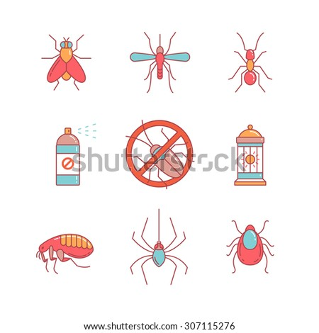 Insects control, anti pest emblem, insecticide, thin line icons set. Modern flat style symbols isolated on white for infographics or web use. - stock vector