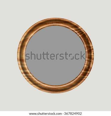 Insert this frame your favorite image and give to friends round frame made of precious wood for paintings, portraits and other. vector illustration . To work designers