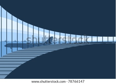 Inside Airport Terminal Background-vector - stock vector