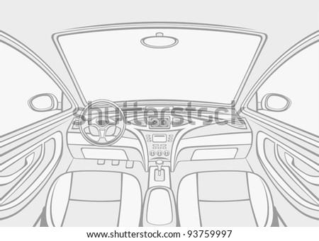 Inside car - stock vector