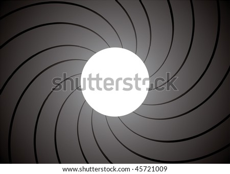 inside of a gun barrel with spiral background