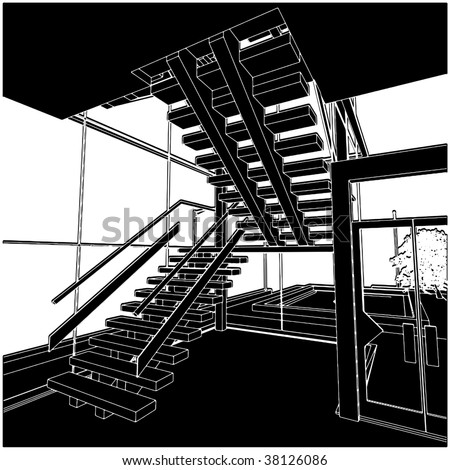 Inside Stair Space Vector 01 - stock vector