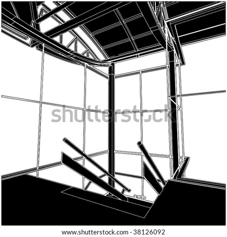 Inside Stair Space Vector 03 - stock vector