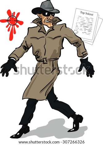 Insidious spy sneaks to steal top secrets.Hand drawn artwork. Vector illustration.It Can be used for flayers, banners, posters.