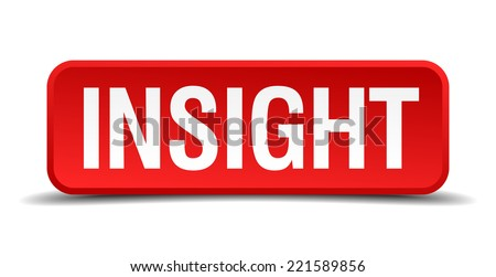 Insight red 3d square button on white background - stock vector