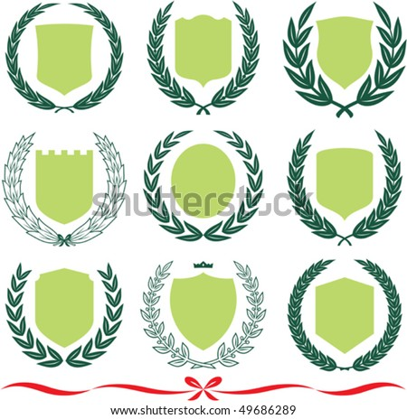 Insignia designs set 9 shields, laurel wreaths and ribbons. Vector illustrations isolated on white background - stock vector
