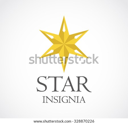 Insignia gold glass star abstract vector and logo design or template decoration business icon of company identity symbol concept - stock vector