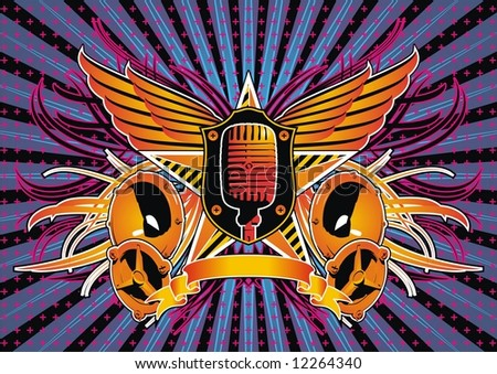 Insignia with speaker and microphone. - stock vector