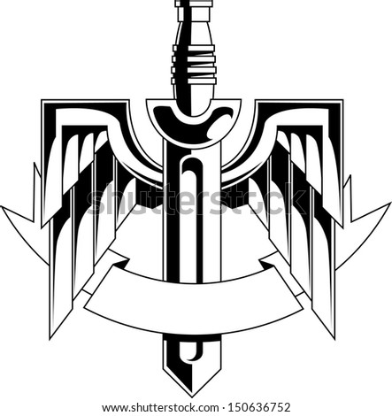Sword With Wings Logo Insignia With Sword Wings And