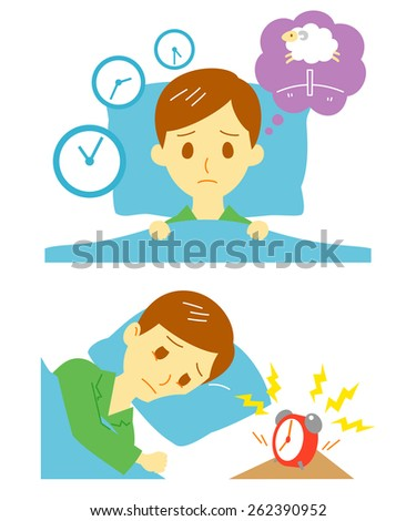 Insomnia, sleeplessness, man - stock vector