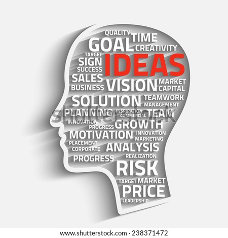 inspiration concept with head and business words, eps10 vector background - stock vector