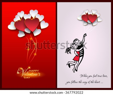 Inspirational quote about life and love.When you feel true love,you follow the way of the heart.Happy Valentines day card.Couple Flying with balloon shaped heart.Heart Balloons on red Background - stock vector