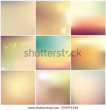 instagram style soft blurred abstract background set collection in subtle warm colors - stock vector