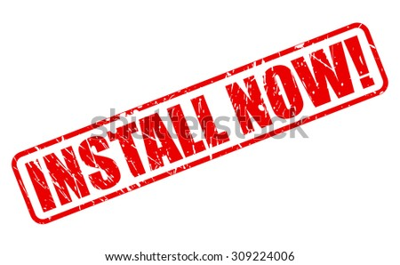 Install Now red stamp text on white - stock vector