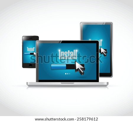 install on computer electronics illustration design over white - stock vector