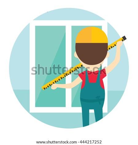 Installation of windows flat style illustration. Measuring windows. Worker measures the window using tape measure. - stock vector