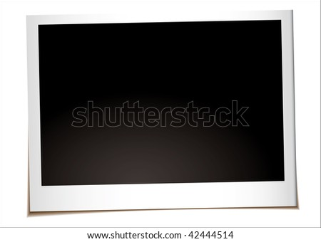 Instant landscape photograph with drop shadow and copy space - stock vector