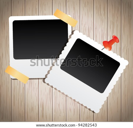 Instant photo frames on wooden planks - stock vector