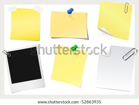 Instant photo & sticky note - stock vector