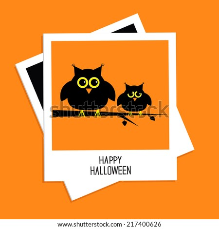Instant photo with cute owls. Happy Halloween card. Flat design. Vector illustration - stock vector