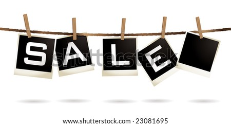 Instant photos hanging on a washing line with sale text - stock vector